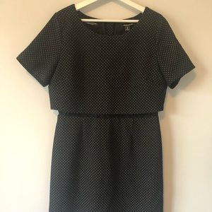 Maison Scotch Spotted Wool Faux Crop Mini Dress
